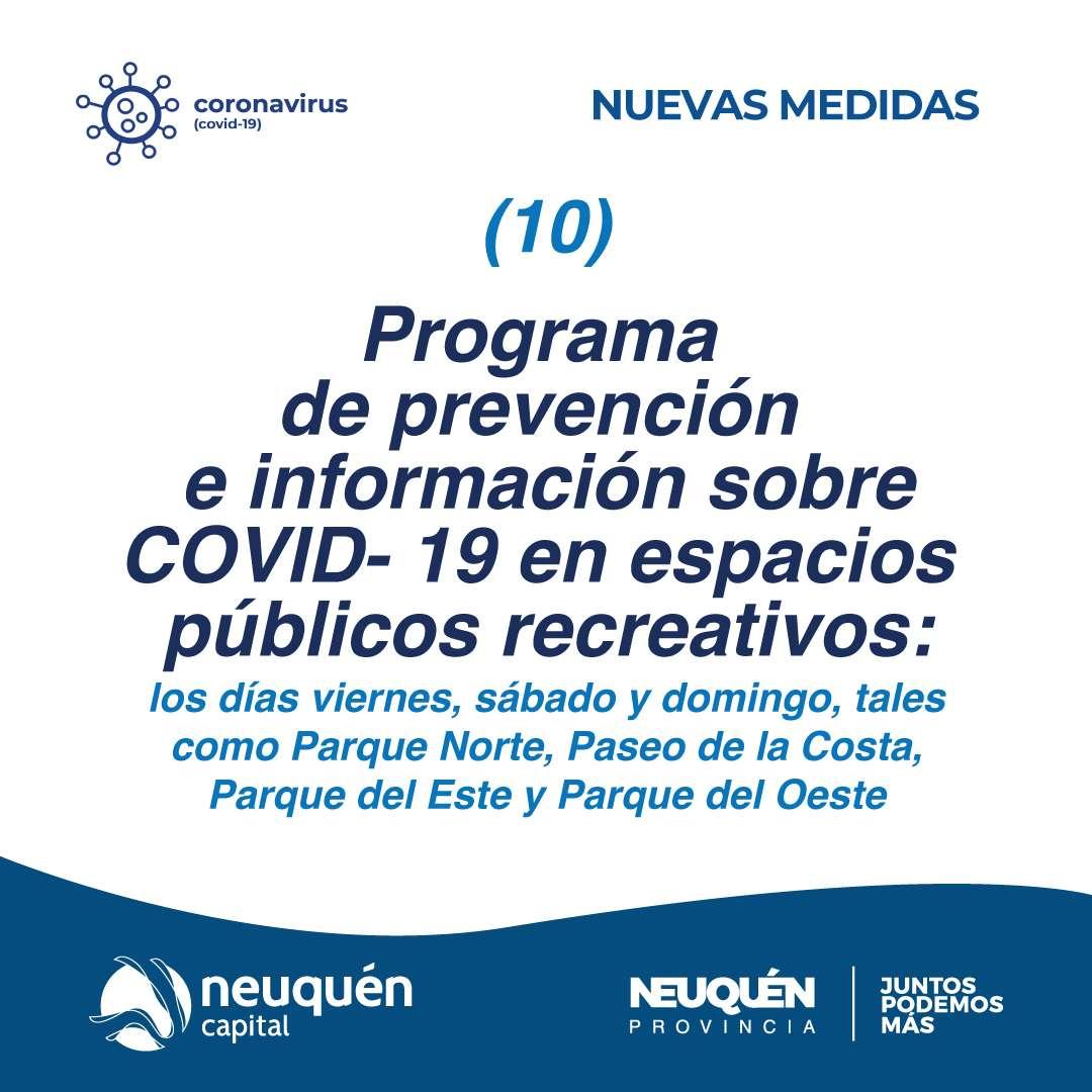 Programa de prevención e información sobre COVID- 19 en espacios públicos recreativos.